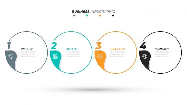 Modello di infografica timeline per le fasi del processo aziendale