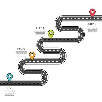 Modello di infografica. tortuosa strada asfaltata con puntine colorate.