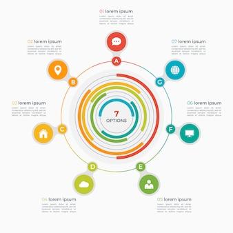 Modello di infografica vettoriale con cerchi integrati