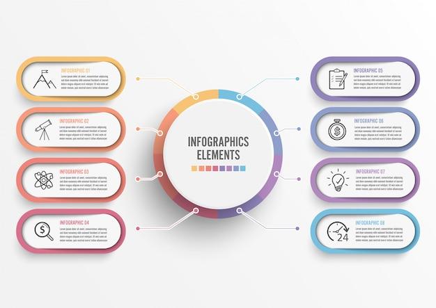 Modello di infografica vettoriale con etichetta di carta 3d