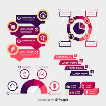 Modello di infografica viola nella progettazione piana