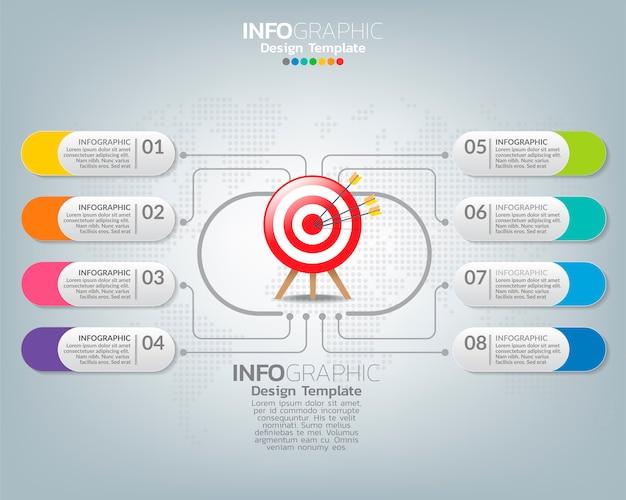 Modello di infographic con il concetto digitale delle icone di vendita.