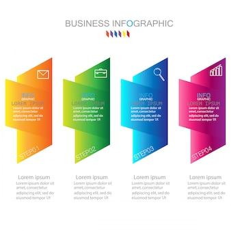 Modello di infographic con quattro passaggi o diagramma di processo di opzioni