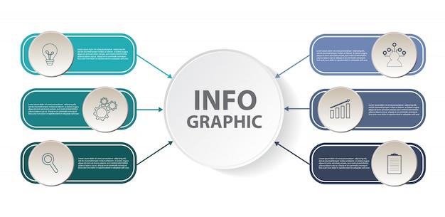 Modello di infographic di affari con 6 punti e icone