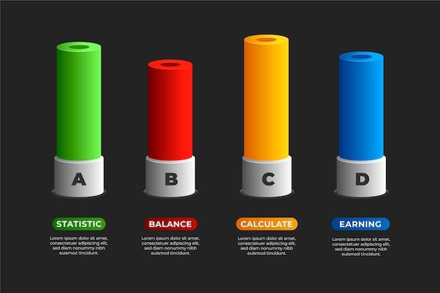 Modello di infographic di barre 3d