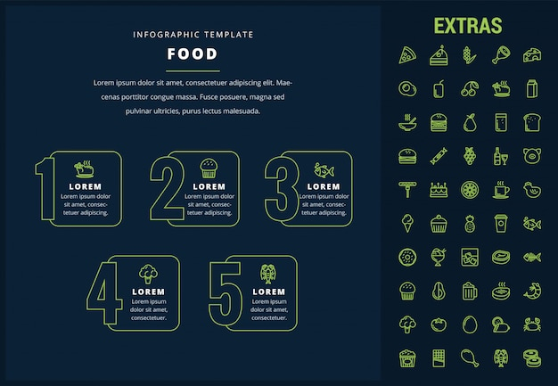 Modello di infographic di cibo, elementi e icone