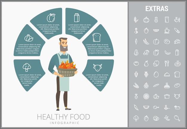 Modello di infographic di cibo sano, elementi, icone