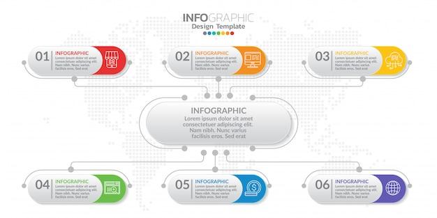 Modello di infographic di gestione con il numero.