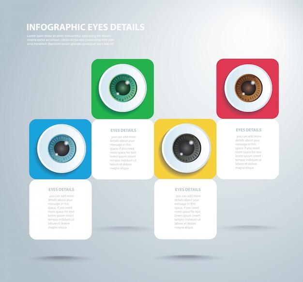 Modello di infographic di occhi di colore con 4 opzioni