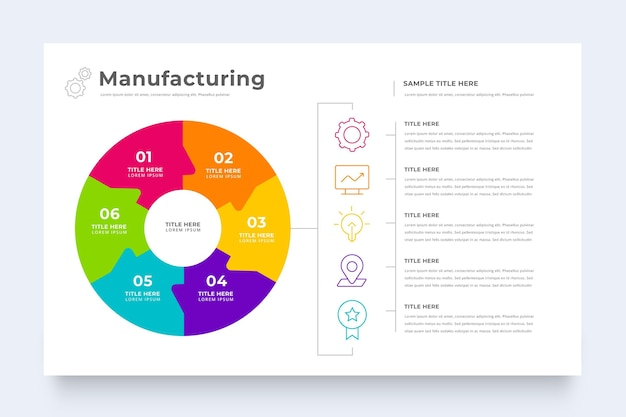 Modello di infographic di produzione aziendale
