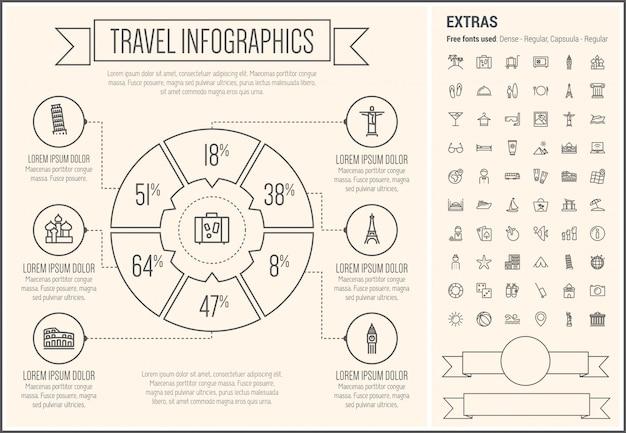 Modello di infographic di progettazione di linea di viaggio