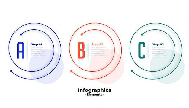 Modello di infographic di tre passaggi nella progettazione a forma di linea spirale
