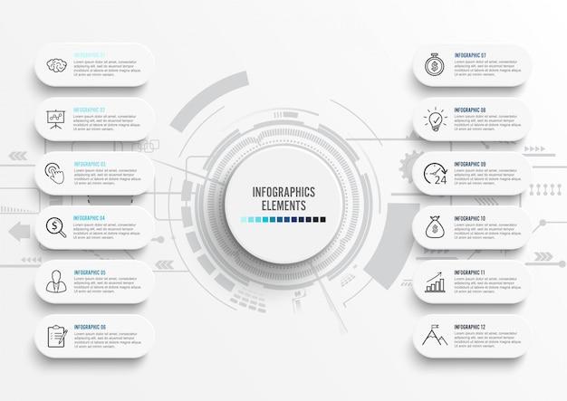 Modello di infographic di vettore con etichetta di carta 3d, cerchi integrati.