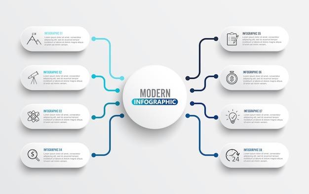 Modello di infographic di vettore con etichetta di carta 3d. concetto di business con 8 opzioni.