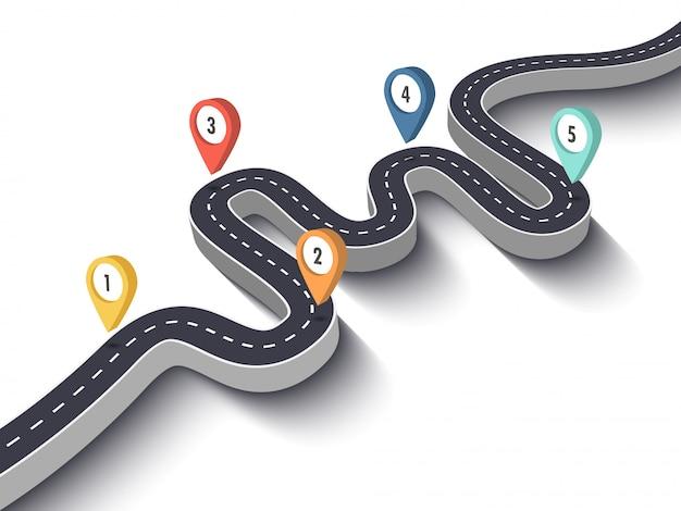 Modello di infographic di viaggio e di affari con puntatore a perno. 3d