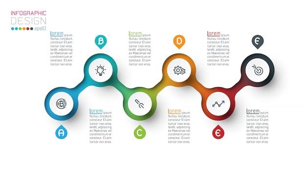 Modello di infographic etichetta cerchio con passo dopo passo.