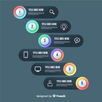 Modello di infographic gradini gradiente