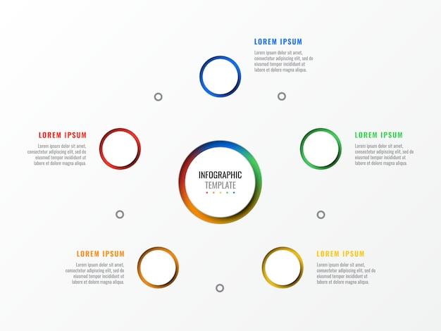 Modello di infographic layout layout di cinque passaggi con elementi realistici 3d rotondi. diagramma di processo