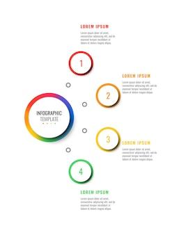 Modello di infographic layout layout quattro passaggi con elementi realistici 3d rotondi. diagramma di processo per brochure, banner, relazione annuale