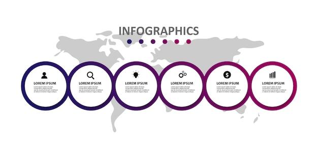 Modello di infographic moderno con 6 opzioni o passaggi