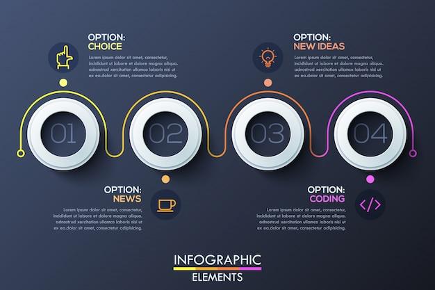 Modello di infographic moderno con anelli bianchi e numeri all'interno