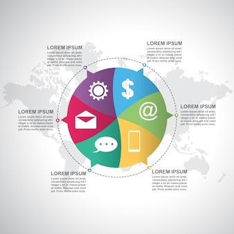 Modello di infographic moderno del ciclo del ciclo dell'otturatore di punti di affari