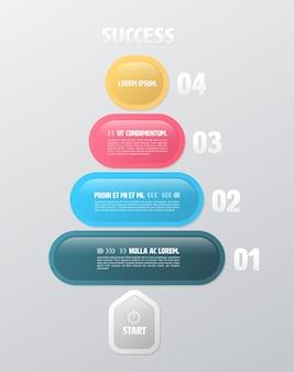 Modello di infographic rettangolo rotondo