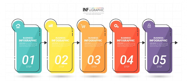 Modello di infographics di affari con cinque passaggi
