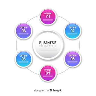 Modello di infographics di affari di gradiente