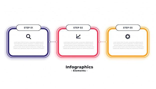 Modello di infographics di affari di tre passaggi