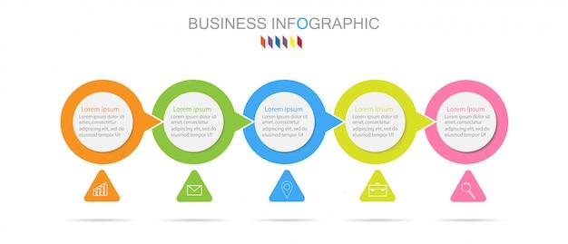 Modello di infographics di affari l'opzione di colore pieno di concetto 5.