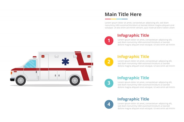 Modello di infographics di assistenza sanitaria ambulanza con quattro punti