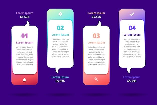 Modello di infographics di bolle di discorso gradiente