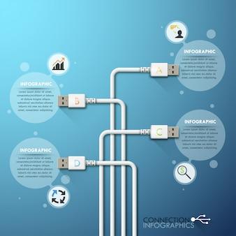 Modello di infographics di connessione usb aziendale