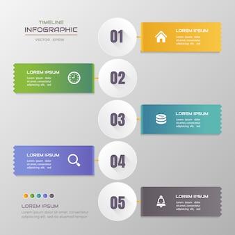 Modello di infographics di cronologia con le icone