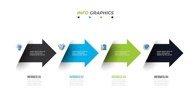 Modello di infographics di cronologia di affari con 4 opzioni, passaggi, freccia, icone, diagramma di flusso, presentazione, flusso di lavoro o infografica di processo