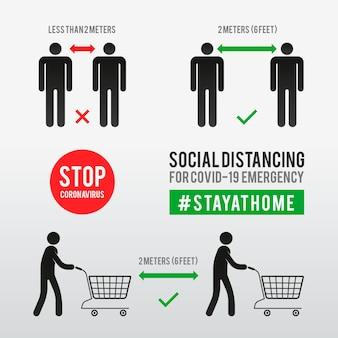 Modello di infographics di distanza sociale