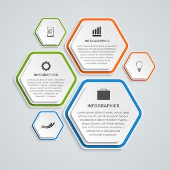 Modello di infographics di opzioni di affari di esagono 3d.