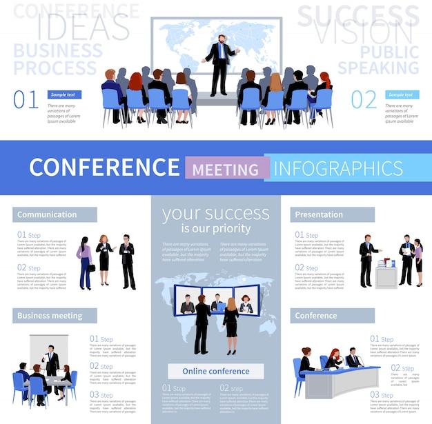 Modello di infographics di riunione di conferenza persone con diversi tipi di negoziazione