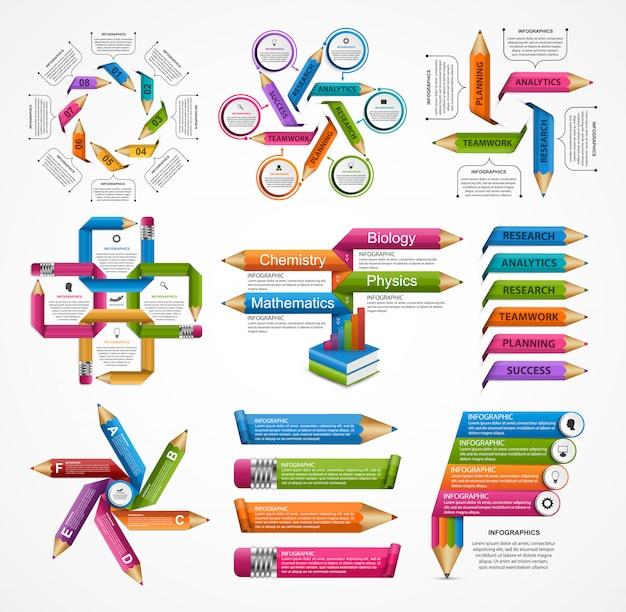 Modello di infographics istruzione raccolta.