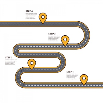 Modello di infographics strada tortuosa con montagne e puntatori pin