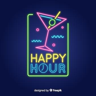 Modello di insegna al neon happy hour