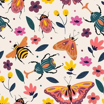 Modello di insetti e fiori