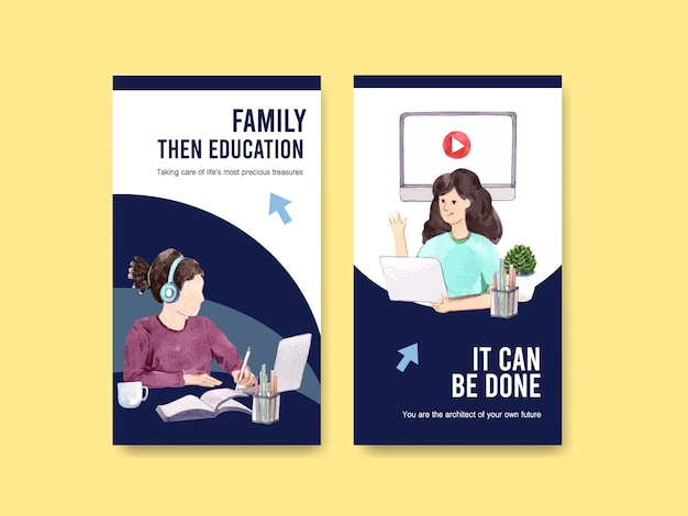Modello di instagram con design di istruzione online
