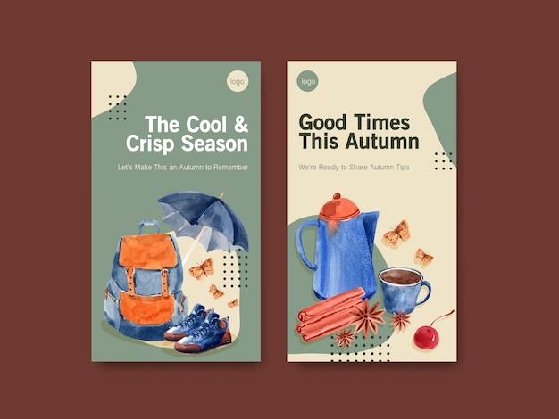 Modello di instagram con progettazione di massima quotidiana di autunno per l'acquerello di media sociali e di marketing digitale