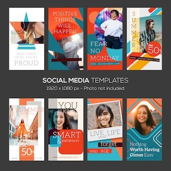 Modello di instagram stories. astratto con citazioni e file modificabili