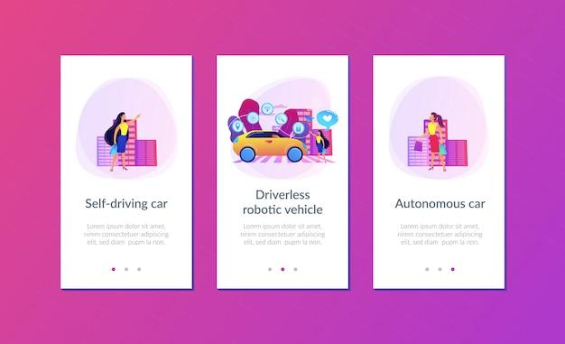 Modello di interfaccia app auto autonomo.