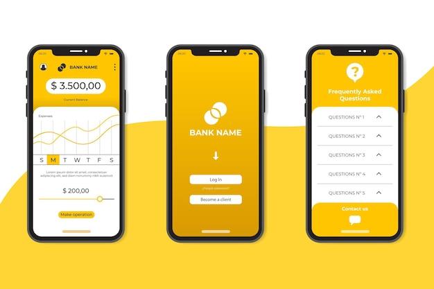 Modello di interfaccia app bancaria minimalista