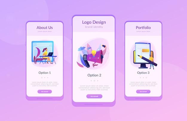 Modello di interfaccia app brand identity
