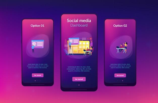 Modello di interfaccia app dashboard di social media
